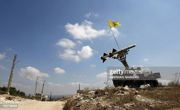 A model of a Katyusha rocket launcher erected by Hezbollah militants is seen in the southern Lebasnese village of Qalawayeh 06 July 2007 A year after...