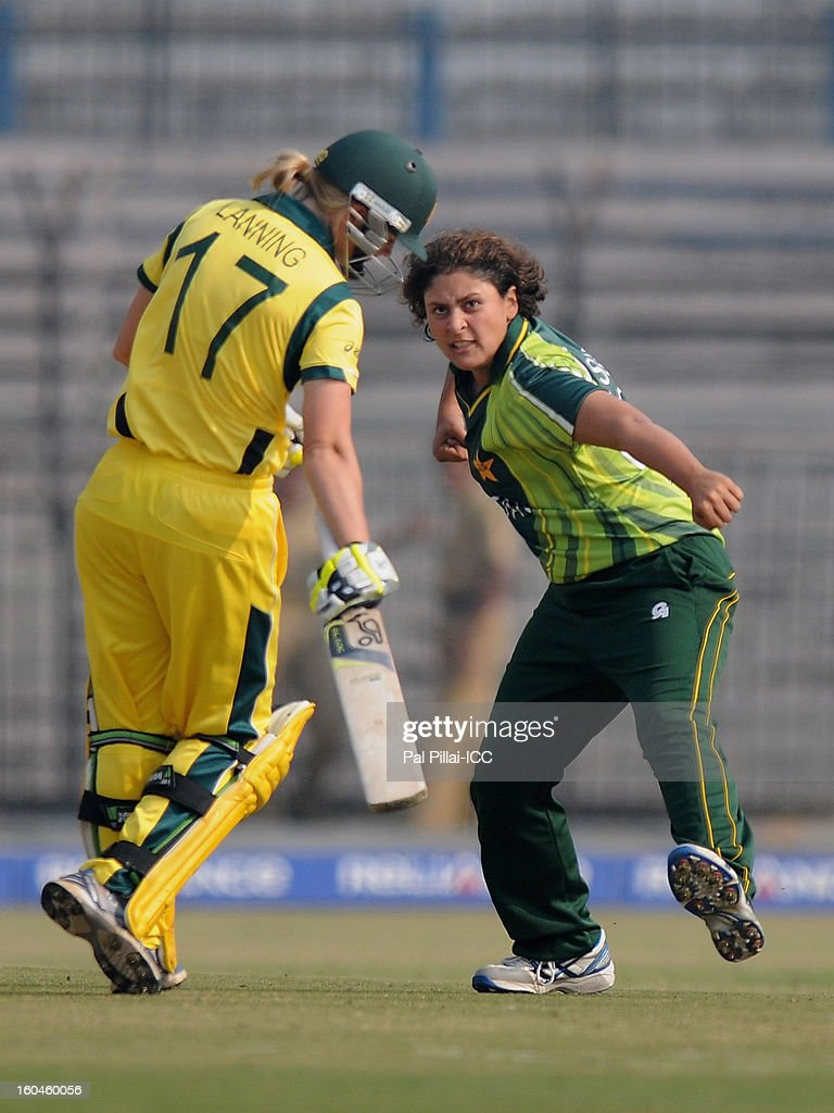 Qanita Jalil of Pakistan celebrates the wicket of Meghann Moira Lanning of Australia during the second match of ICC Womens World Cup between Australia and Pakistan, played at the Barabati stadium on February 1, 2013 in Cuttack, India.