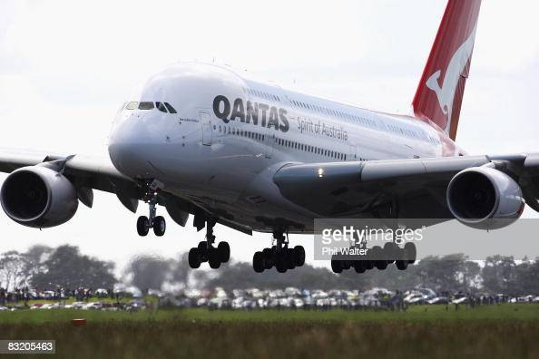 Qantas A380 Airbus lands at Auckland International Airport watched by hundreds of people on October 10 2008 in Auckland New Zealand The promotional...