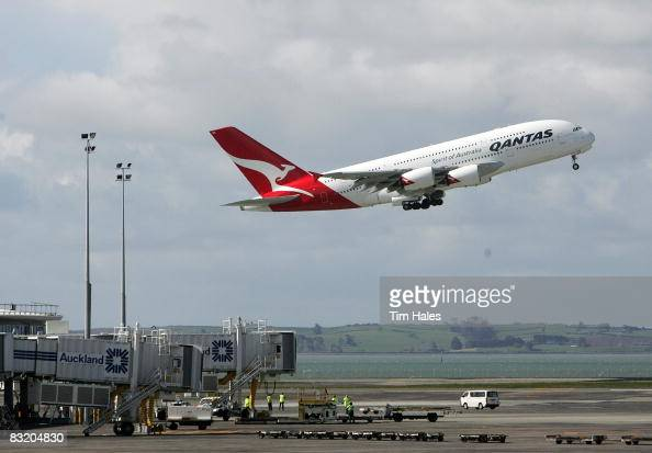 Qantas A380 Airbus takes off at Auckland International Airport October 10 2008 in Auckland New Zealand The promotional visit by the world's largest...