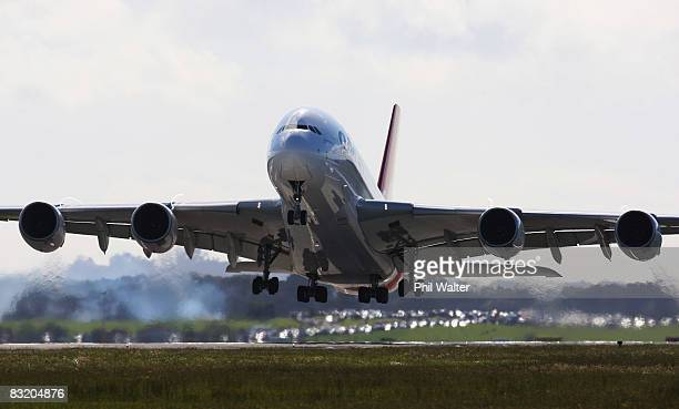 Qantas A380 Airbus takes off from Auckland International Airport October 10 2008 in Auckland New Zealand The promotional visit by the world's largest...