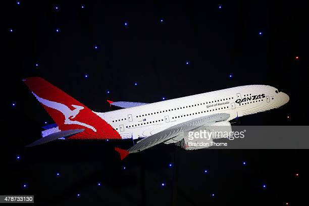 Qantas A380 built from lego is displayed at the Brick Man Experience The Complete Collection by Ryan McNaught made entirely of LEGO bricks at Sydney...