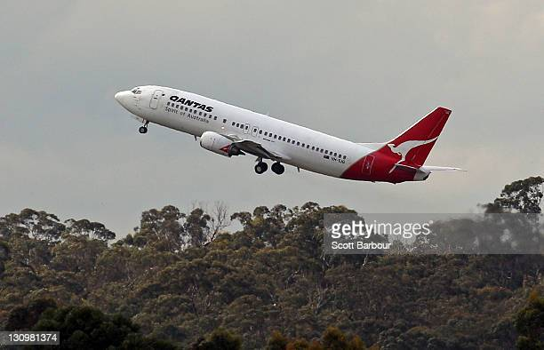 Qantas aeroplane takes off at Melbourne Airport on October 31 2011 in Melbourne Australia Qantas flights are expected to return to the skies at 200pm...