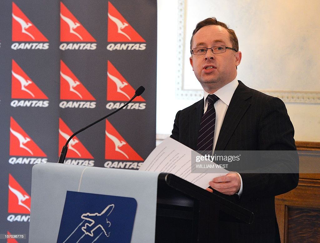 Qantas Airways CEO Alan Joyce speaks during a luncheon where he announced the airline had severed a lucrative marketing deal with Tourism Australia after claiming its boss was leading a consortium trying to unseat the airline's management and buy out the company, in Sydney on November 28, 2012. The carrier said it had advised the country's offical tourism agency it was halting the Aus$50 million (US$52 million) deal 'due to a potential conflict of interest of the agency's chairman', who is former Qantas chief Geoff Dixon. AFP PHOTO/William WEST