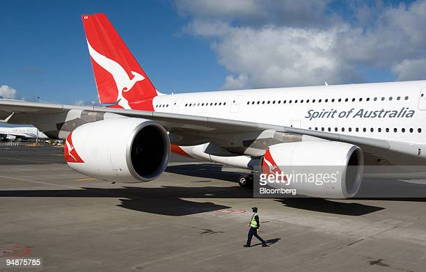Qantas Airways Ltd Airbus A380 jet is parked at the new pier at Auckland International Airport in Auckland New Zealand on Friday Oct 10 2008 Airbus...