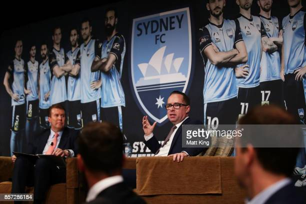 Qantas CEO Alan Joyce is interviewed by television personality Peter Overton during the Sydney FC 2017/18 ALeague Season Launch at the Westin on...