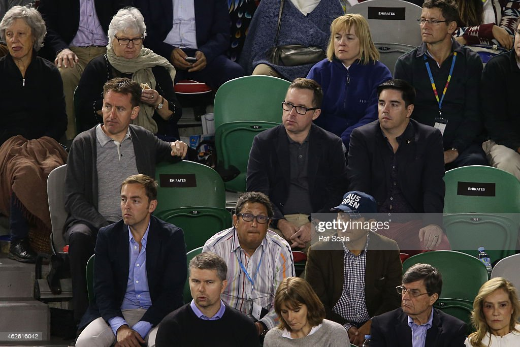 Qantas CEO Alan Joyce watches the action at Rod Laver Arena during day 14 of the 2015 Australian Open at Melbourne Park on February 1, 2015 in Melbourne, Australia.