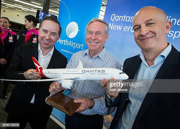 Qantas CEO Alan Joyce with Western Australian Premier Colin Barnett and Perth Airport CEO Kevin Brown at the Launch of the new nonstop Perth to...