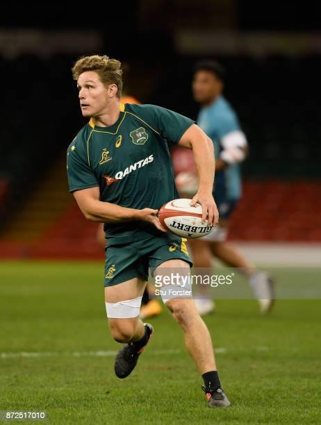 Qantas Wallabies captain Michael Hooper in action during the Australia Captain's Run ahead of their match tomorrow against Wales at Principality...