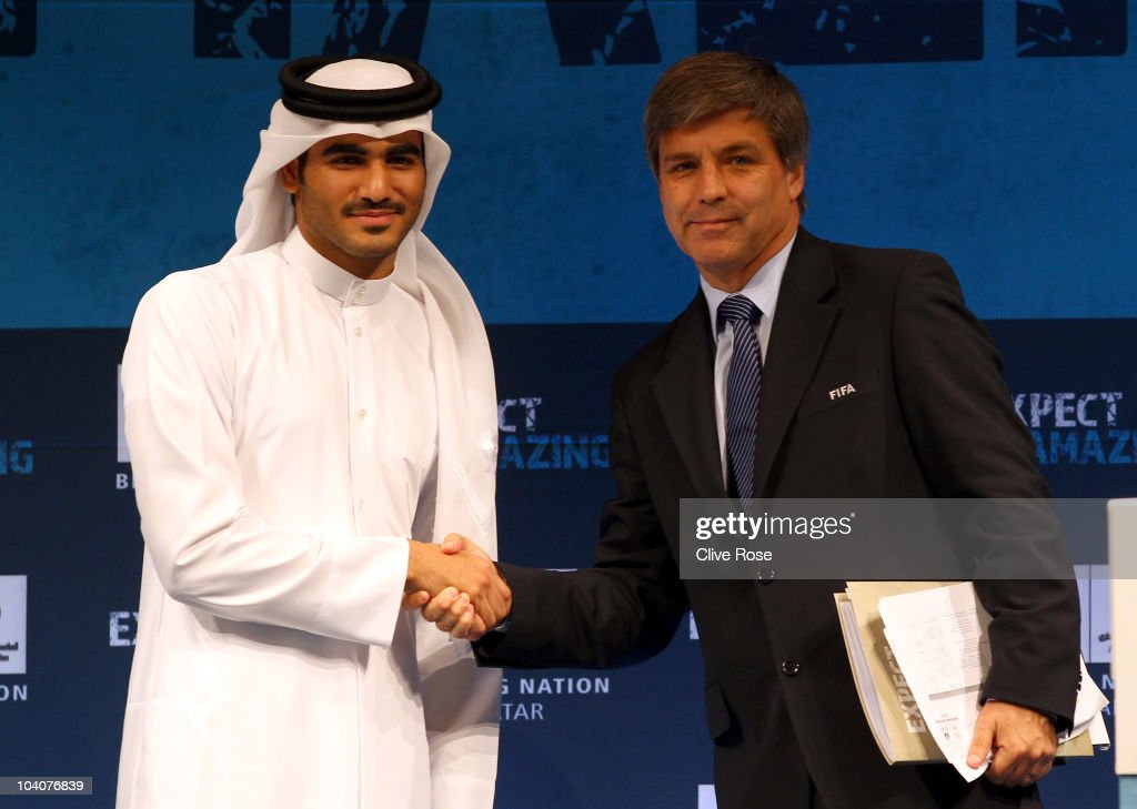 Qatar 2022 Bid Chairman H E Sheikh Mohammed bin Khalifa Al Thani welcomes chief FIFA inspector <a gi-track='captionPersonalityLinkClicked' href=/galleries/search?phrase=Harold+Mayne-Nicholls&family=editorial&specificpeople=3610123 ng-click='$event.stopPropagation()'>Harold Mayne-Nicholls</a> to Qatar on the first day of a three day visit to the Gulf state during the FIFA 2022 World Cup bid inspection tour at the Four Seasons hotel on September 14, 2010 in Doha, Qatar.