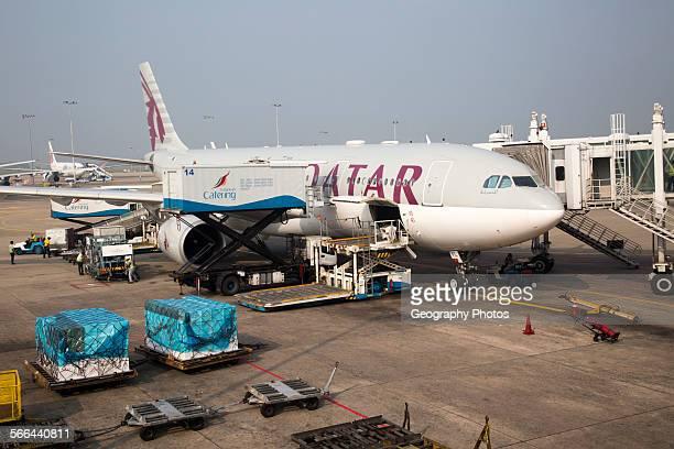 Qatar Airways plane Bandaranayake International Airport Colombo Sri Lanka Asia