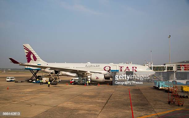 Qatar Airways plane Bandaranayake International Airport Colombo Sri Lanka Asia