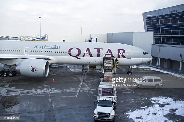 Qatar Airways plane loads a pallet of cargo February 3 2013 at the John F Kennedy International Airport in the Queens borough of New York