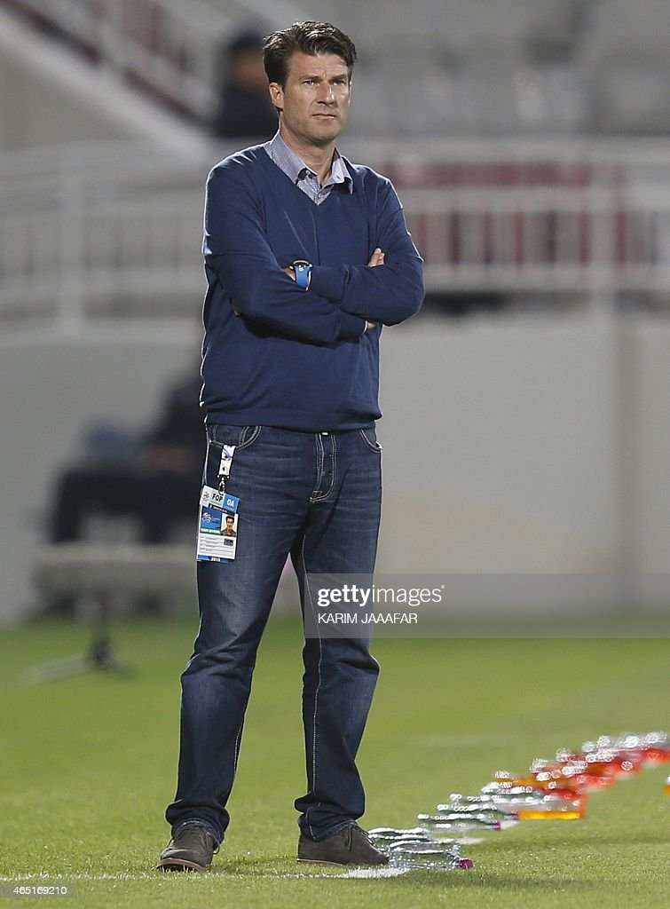 Qatar club Lekhwiya's head coach, <a gi-track='captionPersonalityLinkClicked' href=/galleries/search?phrase=Michael+Laudrup&family=editorial&specificpeople=2380115 ng-click='$event.stopPropagation()'>Michael Laudrup</a> of Denmark, looks on during his AFC Champions League Group A football match against Saudi Arabia's Al-Nassr in Doha on March 3, 2015. AFP PHOTO / AL-WATAN DOHA / KARIM JAAFAR == QATAR OUT ==