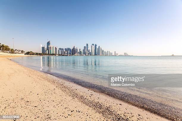 Qatar, Doha. Cityscape from la Corniche promenade