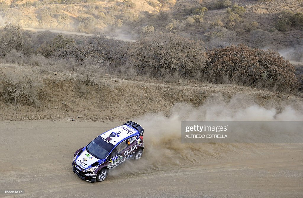 Qatar driver Nasser Al-Attiyah of Qatar World Rally Team steers his Ford during the first day of the FIA World Rally Championships in Silao, Guanajuato State, Mexico, 08 March 2013. AFP PHOTO/Alfredo Estrella