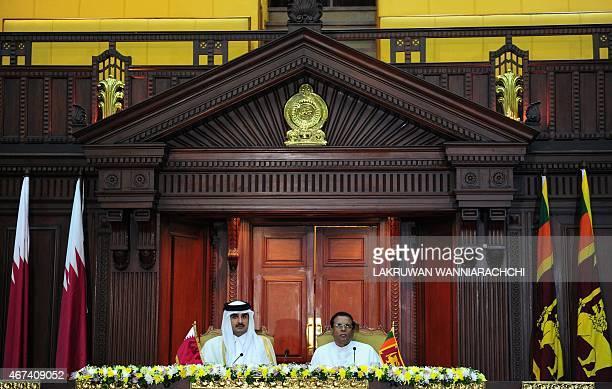 Qatar Emir Sheikh Tamim bin Hamad AlThani and Sri Lankan President Maithripala Sirisena look on during a meeting at the Presidential Secretariat in...
