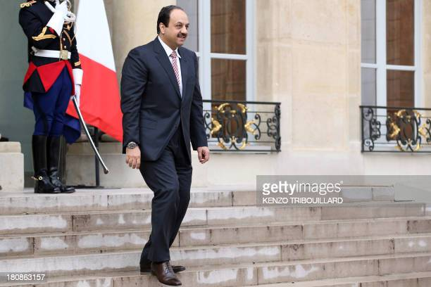 Qatar Foreign Minister Khaled AlAttiyah leaves the Elysee presidential Palace on September 17 2013 in Paris after a meeting with the French President...