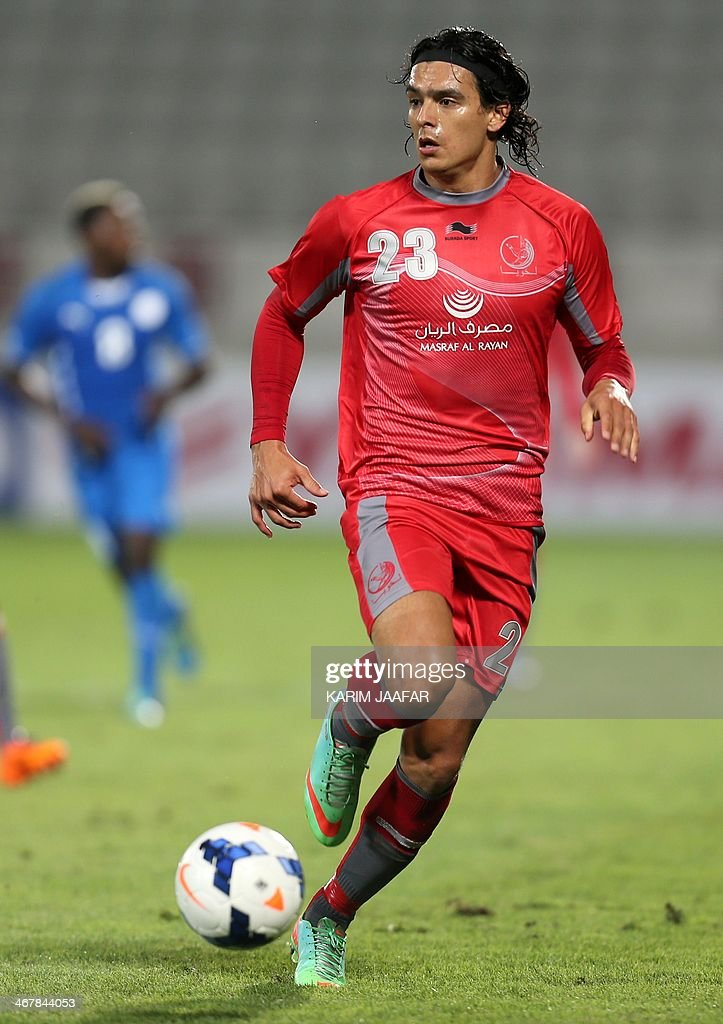 Qatar Lekhwiya's Sebastian Soria controls the ball during his AFC Championship League football match against Bahrain's AlHidd at the Lekhwiya Club...