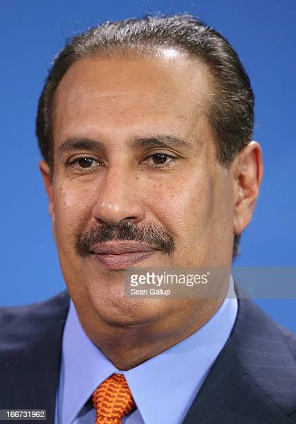 Qatar Prime Minister Hamad bin Jassim Al Thani speaks to the media following talks with German Chancellor Angela Merkel at the Chancellery on April...