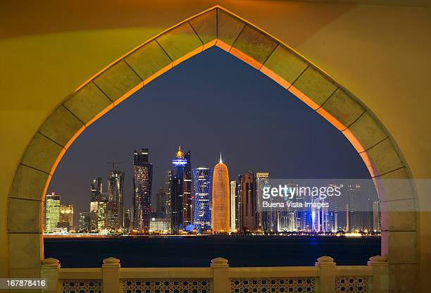 Qatar, Skyline of Doha at night