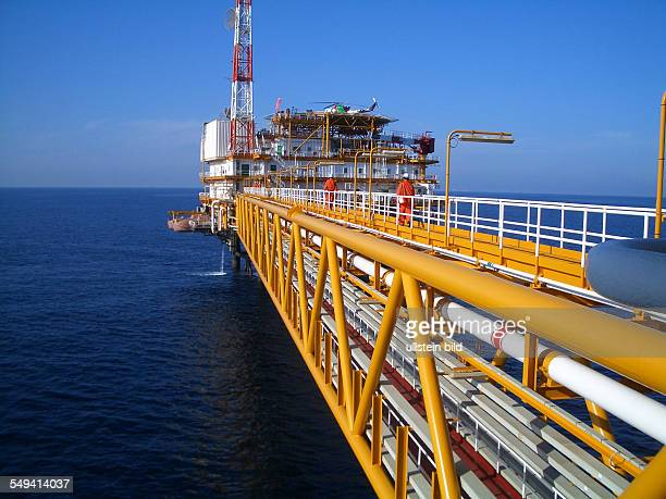 QatarGas offshore drilling rig in the Persian Gulf