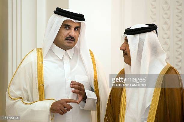 Qatari Crown Prince Sheikh Tamim bin Hamad bin Khalifa alThani Qatari Emir Sheikh Hamad bin Khalifa alThani's son awaits French President Francois...