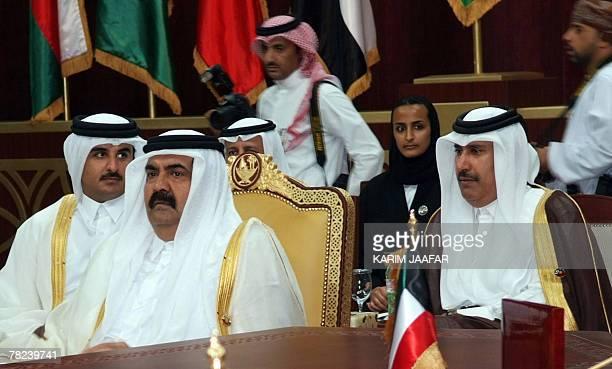Qatari Emir Sheikh Hamad bin Khalifa alThani Qatari Crown Prince Sheikh Tamim bin Hamad alThani and Qatari Prime Minister Sheikh Hamad bin Jassem bin...