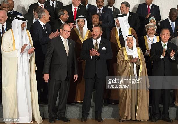 Qatari Emir Sheikh Tamim bin Hamad alThani Monaco's Prince Albert II Morocco's King Mohammed VI Kuwait Emir Sabah alAhmad alJaber alSabah and UN...