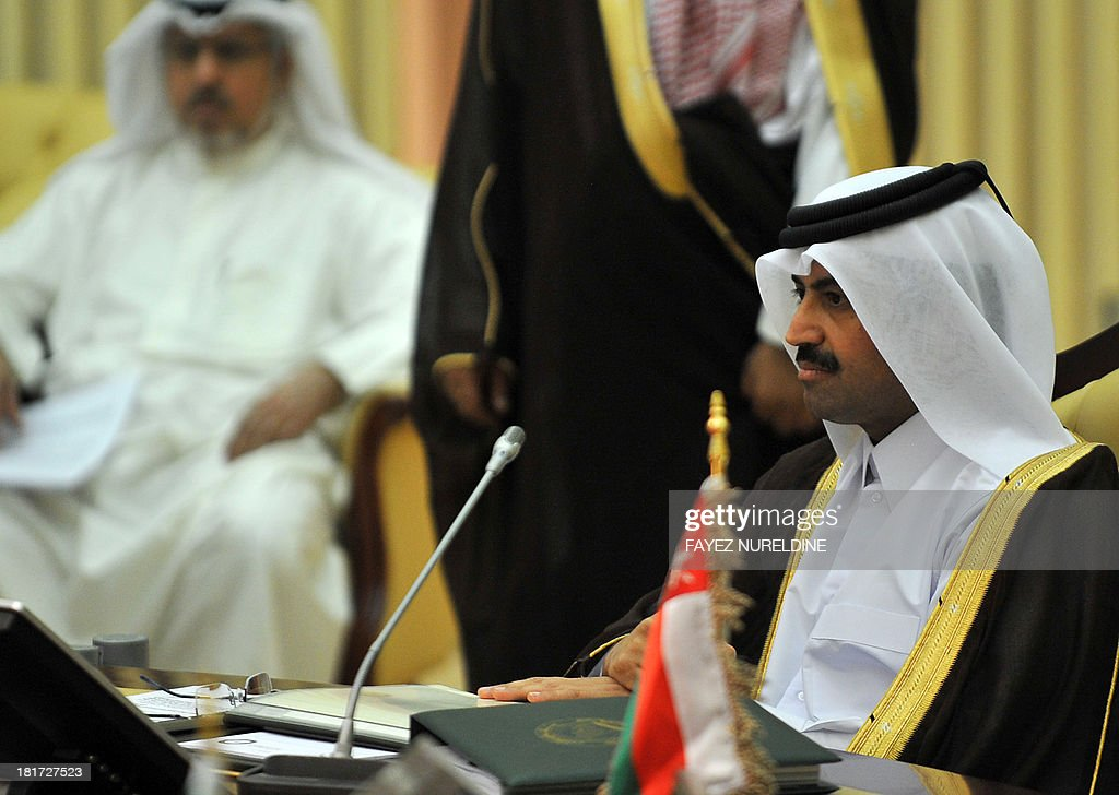 Qatari Energy and Industry Minister Mohammed bin Saleh Al-Sada (R) attends the 32nd ordinary meeting of the Oil Ministers of Gulf Cooperation Council (GCC) for the Gulf states held in Saudi capital of Riyadh, on September 24, 2013.