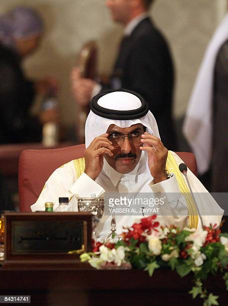 Qatari Finance Minister Yussef Hussein Kamal attends of the Arab Economic Summit in Kuwait City on January 14 2009 Arab countries which sustained...