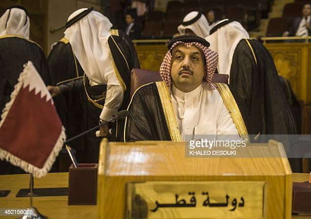 Qatari foreign minister Khaled alAttiyah attends an emergency meeting of Arab foreign ministers in Cairo on July 15 2014 to discuss the situation in...