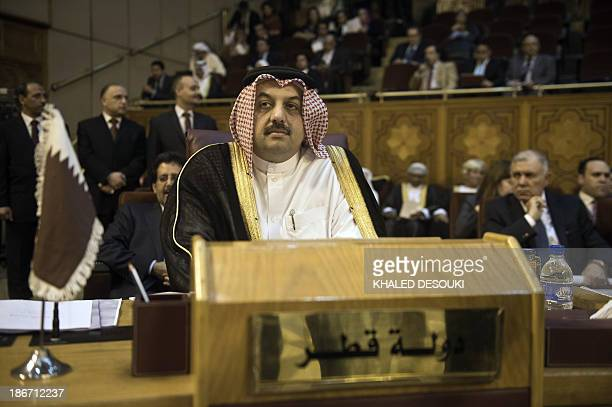 Qatari Foreign minister Khalid bin Mohamed alAttiyah attends a meeting of the Arab League Foreign ministers on Syria in Cairo on November 3 2013 AFP...