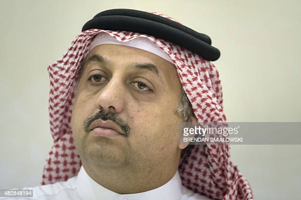 Qatari Foreign Minister Khalid bin Mohammad AlAttiyah listens during a press conference following a meeting between US Secretary of State John Kerry...