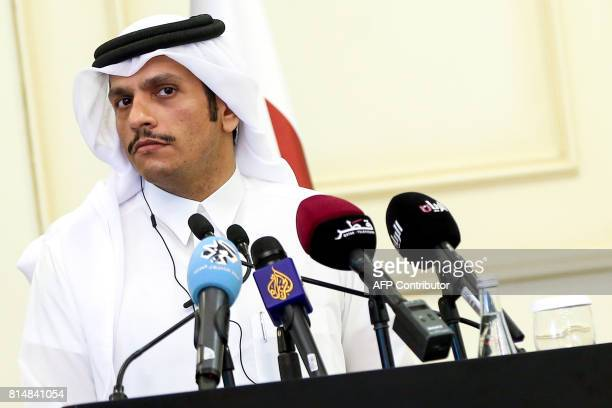 Qatari Foreign Minister Mohammed bin Abdulrahman alThani gives a press conference with his French counterpart in the capital Doha on July 15 2017 /...
