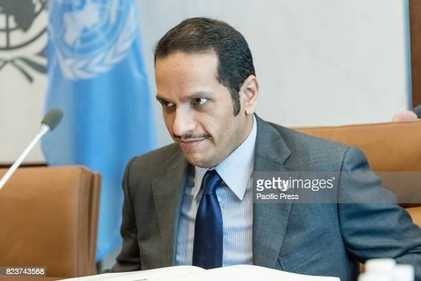 Qatari Foreign Minister Mohammed bin Abdulrahman alThani is seen before the start of a meeting with United Nations SecretaryGeneral Antonio Guterres...
