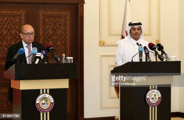 Qatari Foreign Minister Mohammed bin Abdulrahman alThani speaks during a press conference with his French counterpart JeanYves Le Drian in the Qatari...