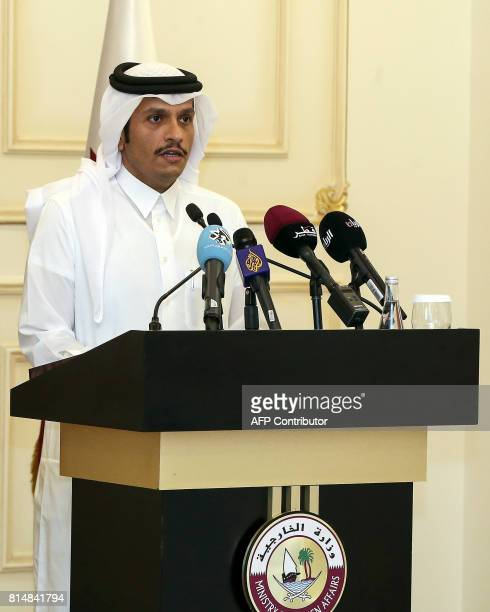 Qatari Foreign Minister Mohammed bin Abdulrahman alThani speaks during a press conference with his French counterpart in the capital Doha on July 15...