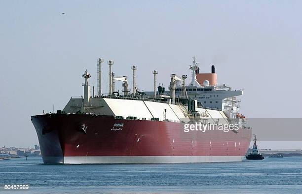 Qatari Liquefied Natural Gas carrier 'Duhail' passes through the Suez Canal near the Egyptian port city of Ismailia on April 1 2008 The vessel has a...