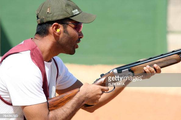 Qatari Nasser alAttiyah prepares to shoot during the first day of practice at the ISSF World Shooting championships held at the Olympic Shooting...