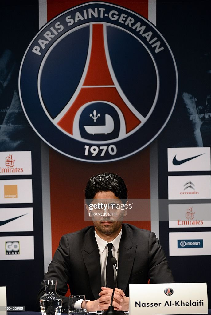 PSG Qatari president Nasser Al-Khelaifi gives a press conference on January 31, 2013 at the Parc des Princes stadium in Paris. British football player David Beckham signed a five-month deal with the French Ligue 1 football club Paris Saint Germain until the end of June.
