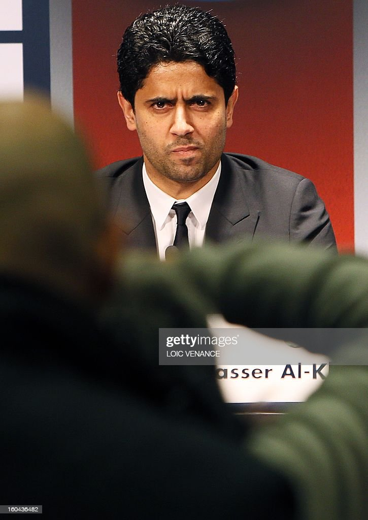 PSG Qatari president Nasser Al-Khelaifi takes part in a press conference on January 31, 2013 at the Parc des Princes stadium in Paris. English football player David Beckham signed a five-month deal with the French Ligue 1 football club Paris Saint Germain until the end of June.