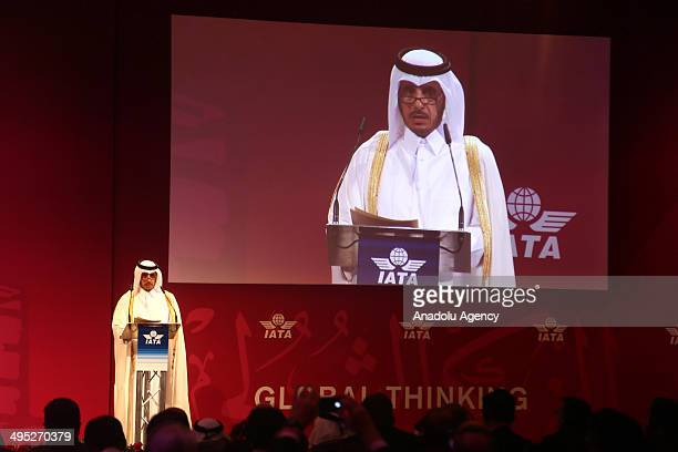 Qatari Prime Minister Abdullah bin Nasser bin Khalifa Al Thani speaks during the 70th annual meeting of International Air Transport Association in...