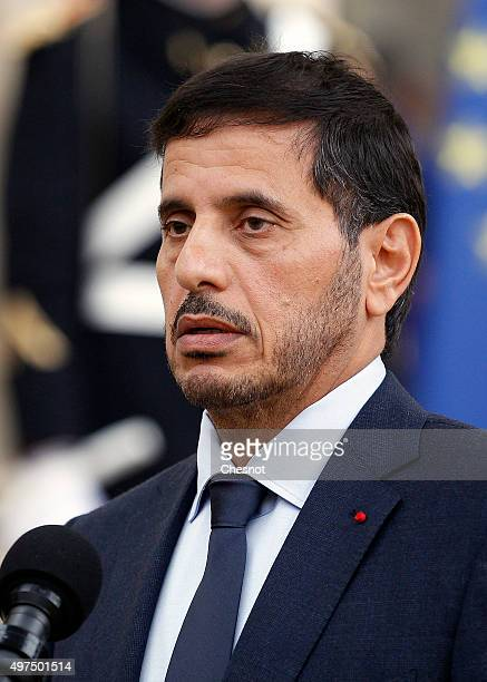 Qatari Prime Minister Abdullah bin Nasser bin Khalifa Al Thani talks to the media after a meeting with French President Francois Hollande at the...
