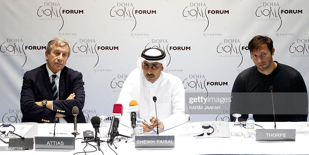 Qatari Sheikh Faisal bin Mubarak al-Thani (C), executive director of Doha Gathering of All Leaders in Sport (GOALS) speaks between Richard Attias (L), executive producer, Doha GOALS and Executive Chairman, and five-time Olympic gold medallist Ian Thorpe (R) of Australia during a news conference in Doha on December 10, 2012.