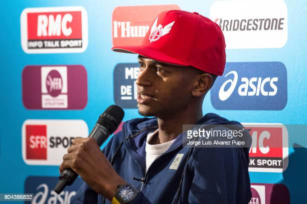 Qatari track and field athlete Mutaz Essa Barshim speaks during the Meeting of Paris press conference of the IAAF Diamond League 2017 at Mercure...