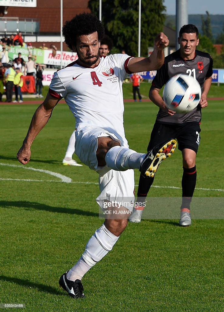 Qatar's Ahmed Mohamed El Sayed plays a ball during the friendly football match between Albania and Qatar in Hartberg, Austria, on May 29, 2016. / AFP / JOE