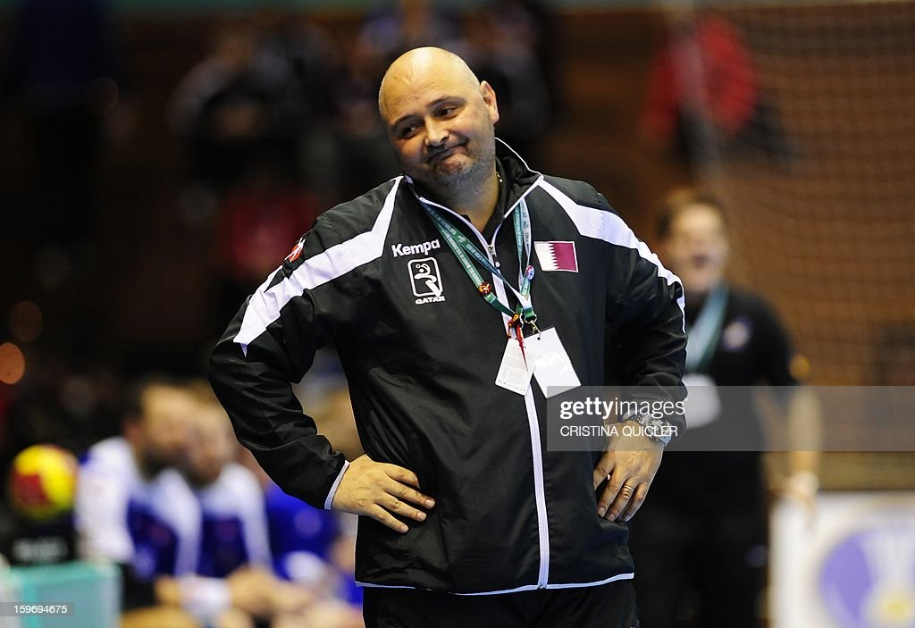 Qatar's coach Borut Macek gestures during the 23rd Men's Handball World Championships preliminary round Group B match Iceland vs Qatar at the Palacio de Deportes San Pablo in Sevilla on January 18, 2013. Iceland won 39-29.AFP PHOTO/ CRISTINA QUICLER