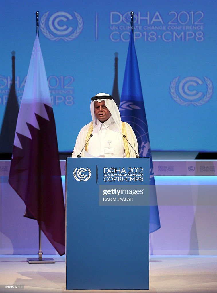 Qatar's deputy Prime minister and 18th Conference of the Parties (COP18) president Abdullah bin Hamad Al-Attiyah delivers a speech during the opening ceremony of the 18th United Nations Convention on Climate Change in Doha on November 26, 2012. Nearly 200 world nations launched today a new round of talks to review commitments to cutting climate-altering greenhouse gas emissions. The two-week conference comes amid a welter of reports warning that extreme weather events like superstorm Sandy may become commonplace if mitigation efforts fail.