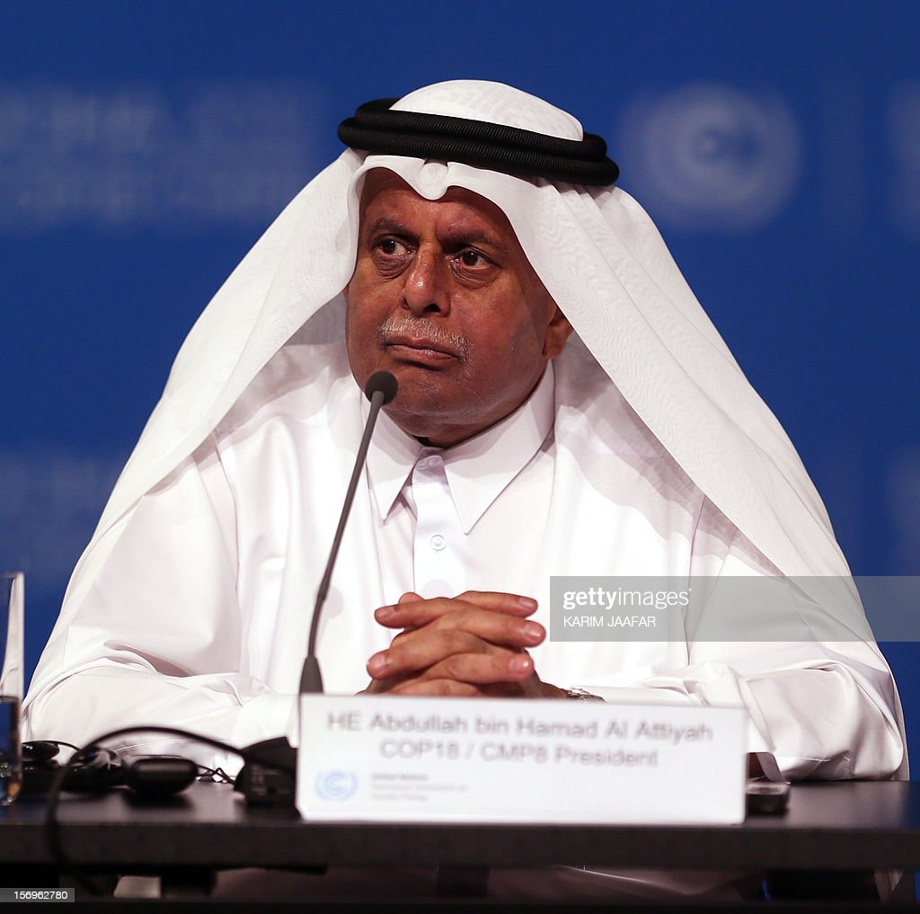 Qatar's Deputy Prime Minister and president of the 18th United Nations Convention on Climate Change, Abdullah bin Hamad Al-Attiyah, attends a press conference following the opening ceremony of the UN conference in Doha on November 26, 2012. Nearly 200 world nations launched today a new round of talks to review commitments to cutting climate-altering greenhouse gas emissions. The two-week conference comes amid a welter of reports warning that extreme weather events like superstorm Sandy may become commonplace if mitigation efforts fail.